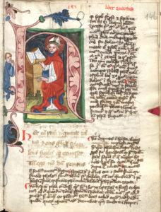Miniatura inicjałowa z dzieła o pocieszeniu jakie daje filozofia, De consolatione a philosophiae, Aniciusa Boetiusa, kopia XV wiek.