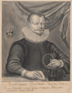 Bartholomäus Schachmann, burmistrz gdański, bibliofil – portret z warsztatu Antona Möllera starszego (ok. 1563-1611), po 1605 roku.