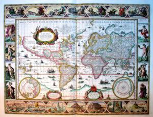 Mapa świata Willema J. Blaeu opublikowana w atlasie Appendix Theatri A . Ortelli et Atlantis G. Mercatoris continens tabulas …, Amsterdam 1631.
